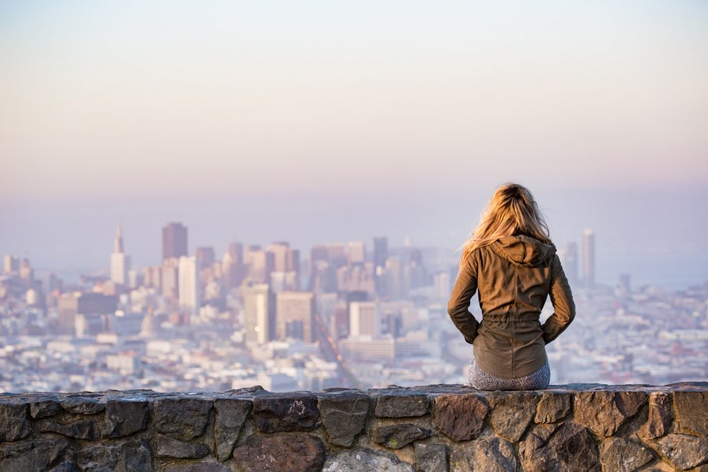 woman traveling alone in city